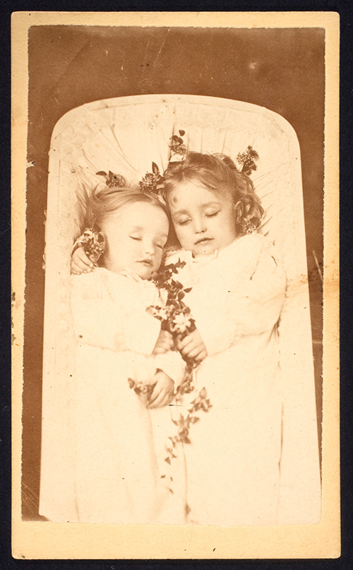 Sisters sharing a casket, ca. 1865