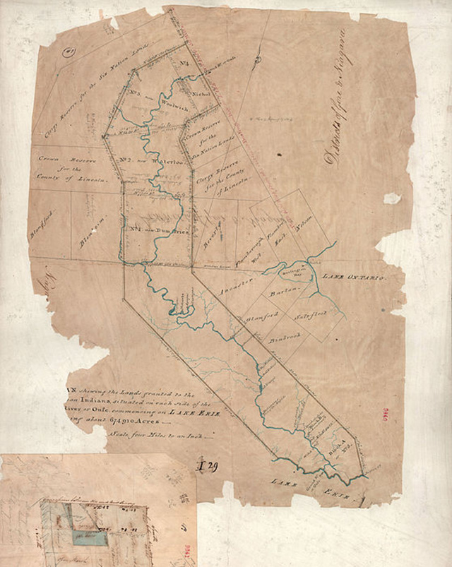 Thomas Ridout's map of Grand River Indian Lands, 1821. Scanned from a 1821 survey from Public Archives of Canada.