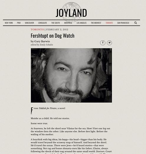 <i>Yiddish for Pirates</i> excerpt on <i>Joyland</i>