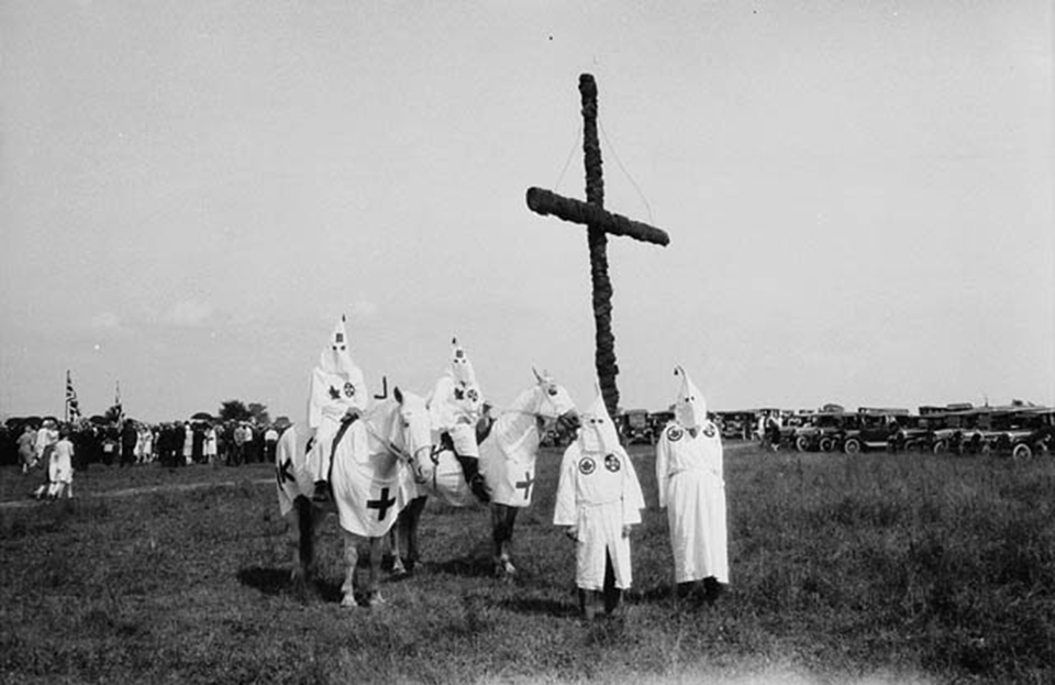 Ku Klux Klan at a gathering near Kingston, ON, 1927