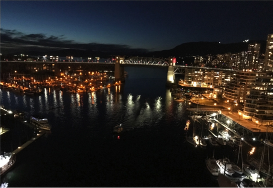 View from the Granville Street Bridge at 7pm in March.