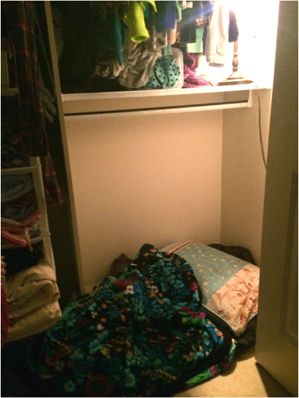 Isabella Wang Writing Space: Makeshift closet hideout