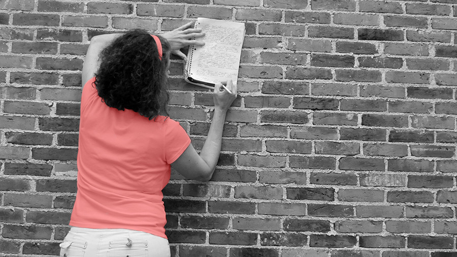 Gail Marlene Schwarts writes with brick wall