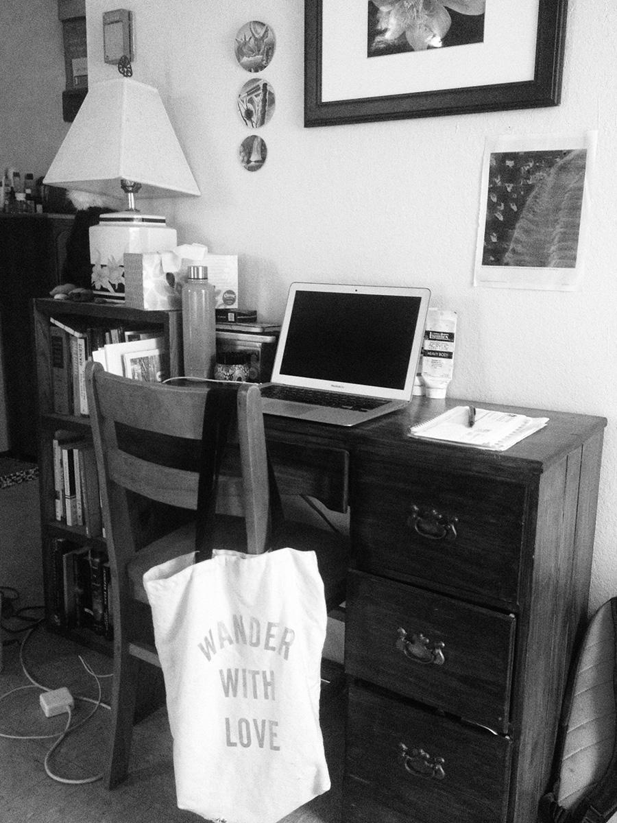 "Evangeline Jones Writing Space: Desk with laptop ""rarely used"""