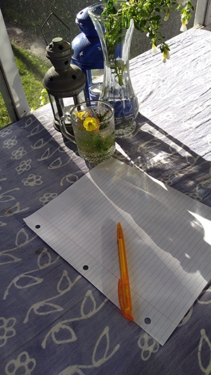 Sue Sorensen Writing Space. Pencil and paper on outdoor table.