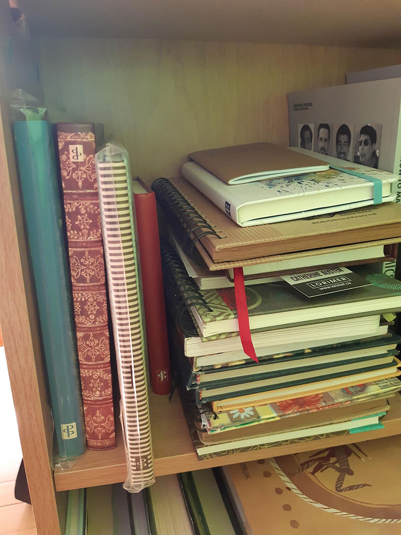 Catherine Austen Writing Space: Stack of journals
